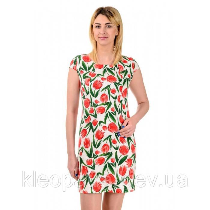 Женское стрейч-лен  платье летнее Мира