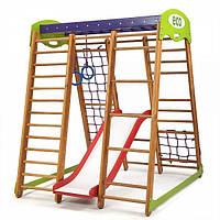 Детский спортивный комплекс для дома «Карапуз Plus 1» с горкой, кольцами, рукоходом, сеткой ТМ SportBaby Разноцветный