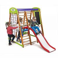 Детский спортивный комплекс для дома «Карапуз Plus 3» с горкой, кольцами, столиком, лестницей ТМ SportBaby Разноцветный