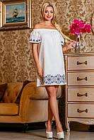 Изысканное платье с открытыми плечами и вышивкой, белый