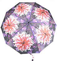 Женский симпатичный прочный зонтик полуавтомат art. 471 фиолетовый с цветами (100222)