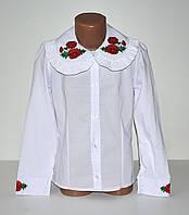 Белая блуза рубашка для девочки. Школа. 122, 134