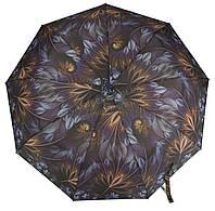 Женский симпатичный прочный зонтик полуавтомат art. 686 темно фиолетовый с цветами (100200)