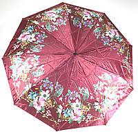 Женский симпатичный прочный зонтик полуавтомат art. 00463 красный с цветами (100204)