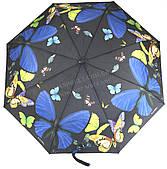 Женский симпатичный прочный зонтик полуавтомат art. 1702 черный с бабочками (100207)