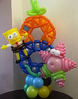 """Цифра из воздушных шаров с героями мультфильма """"Губка Боб...."""""""