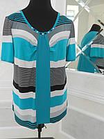 Блуза женская летняя масло в полоску большого размера