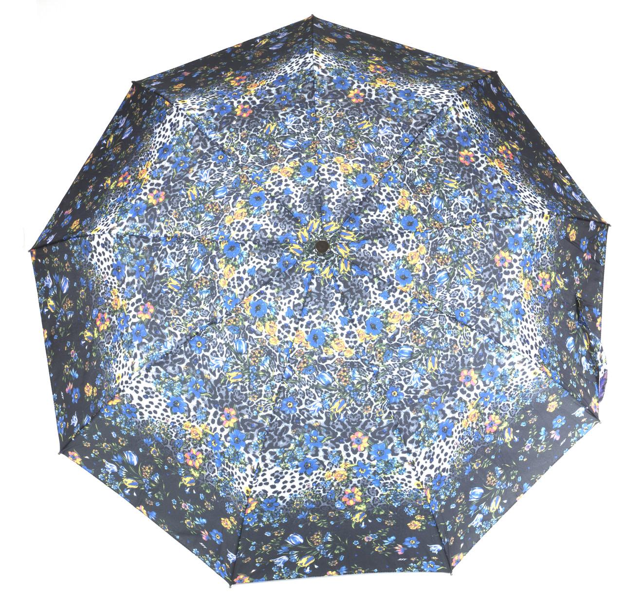 Жіночий симпатичний міцний парасолька напівавтомат art. 461 маленькі квіточки на чорному фоні (104105)