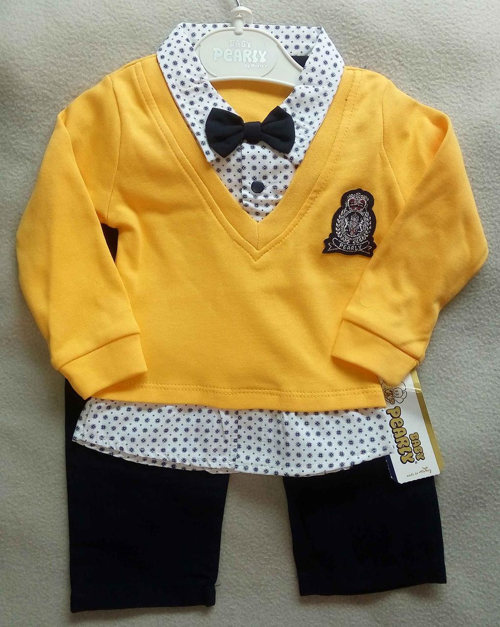 Нарядный костюм с бабочкой для новорожденных 6-12 мес, однотонный джемпер-обманка и штанишки, оптом