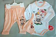 Детский костюм-тройка с боди для новорожденных, на девочек 62-80, оптом