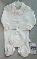 Нарядный белый человечек с бабочкой и кепкой для новорожденных на мальчиков 3-6-9 мес