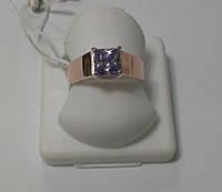 Кольцо из серебра с золотом и сиреневым камнем Гортензия