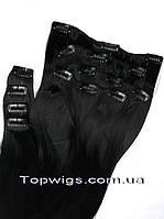 Набор из 8 прядей, 70 СМ термо волосы на заколках клипсах, трессы цвет 1 черный
