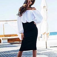 4ca85279ede Костюм женский (блуза со спущенными широкими рукавами и юбка миди)