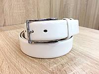 Кожаный ремень Alon под джинсы и брюки, длина 105-125 см. белый