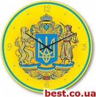 Настенные часы с логотипом, символикой  Glass круглые (300 мм) [Стекло, Открытые]