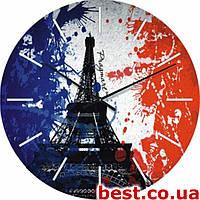 Настенные часы с логотипом на заказ, символикой Glass круглые (450 мм) [Стекло, Открытые]