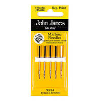 Набор машинных игл Стандарт John James (Англия) / Regular Point Sewing Machine №11(80) (5шт)