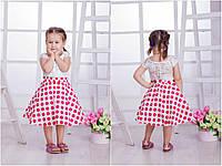 Комплект кофточка и пышная с подъюбником юбка в горох для девочки, коллекция мама и дочка