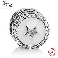 """Серебряная подвеска шарм Пандора (Pandora) """"Драгоценная звезда"""" для браслета бусина"""