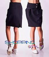 Юбка нарядная школьная с пуговками черная, синяя