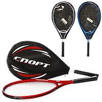 Тенісна ракетка MS 0761 1шт., алюм, 25'', 3 кольори, чохол, 64-27,5-3см