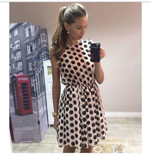 12da2664649 Короткое шифоновое платье в горох без рукавов  продажа