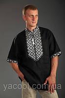 Мужская сорочка вышиванка - черный лен. Родосвит