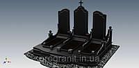 Гранитный памятник тройной (габбро, покостовка)