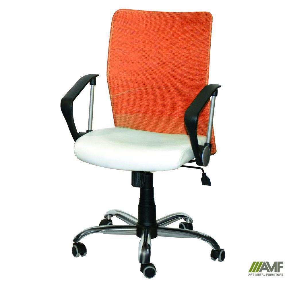 Кресло АЭРО LB сиденье Сетка черная, Zeus 045 Orange/ спинка Сетка оранж-Ночной город