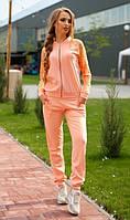Персиковый костюм с кружевом на рукавах