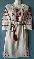 Плаття - вишиванка на сірому льоні розмір S