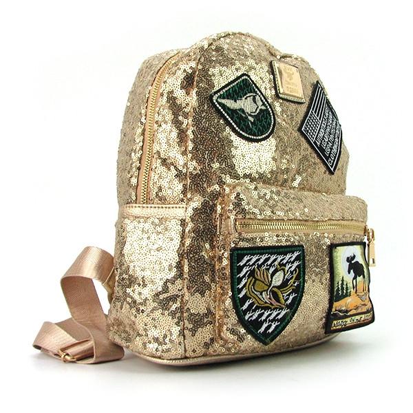 Рюкзак женский текстильный с пайетками золотистый 0883