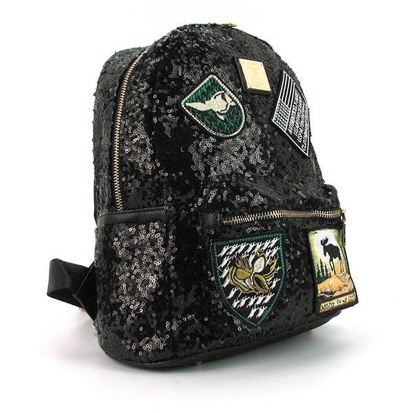 Рюкзак женский текстильный с пайетками черный 0883