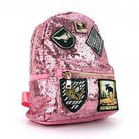 Женский розовый рюкзак hh-0883pin из экокожи и текстильных вставок, фото 1