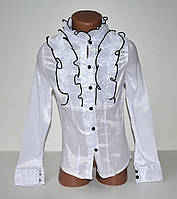 Белая школьная блуза рубашка на девочку длинный рукав 6-14