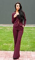 Стильный костюм цвета марсала пиджак и брюки