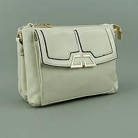 Бежевая сумочка Gilda Tohetti на лето через плечо модная матовая с клапаном на ремешке, фото 1