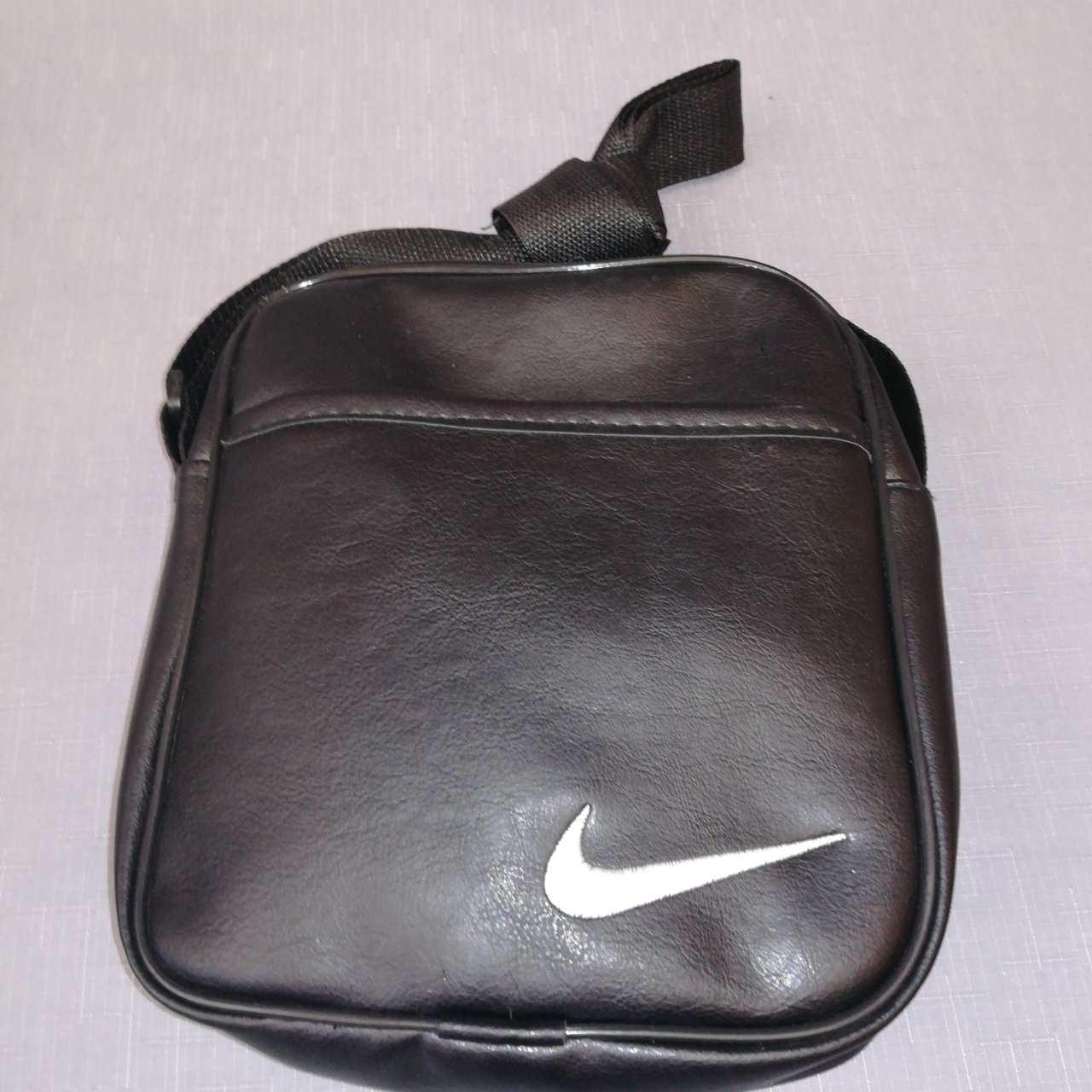 Сумка мужская через плечо черная из искусственной кожи, Nike