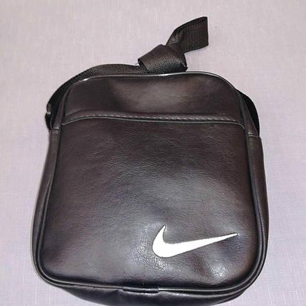 Сумка мужская через плечо черная из искусственной кожи, Nike, фото 2