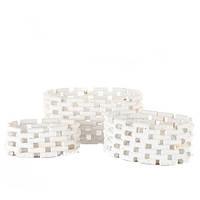 Набор белых корзинок 3 штуки из лозы
