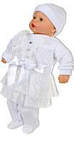 Крестильный набор для девочки с кружевной юбкой белый
