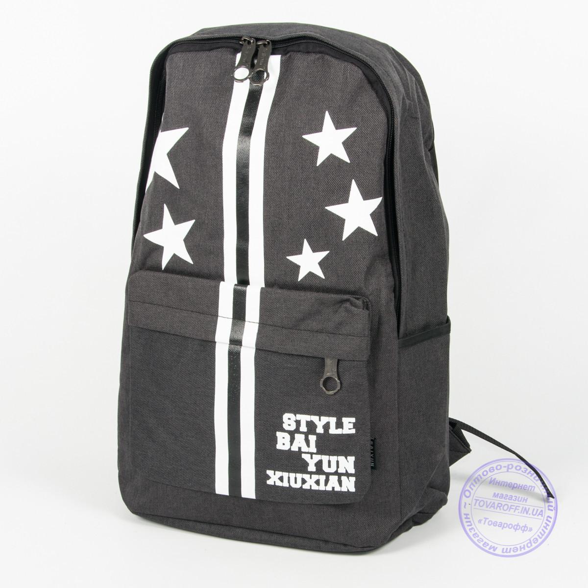 Оптом рюкзак для прогулок и школы - черный - 860