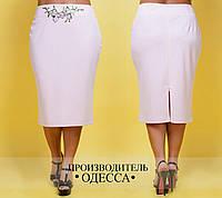 Женская стильная юбка MIDI с вышивкой 496-ин17Л / батал / пудра