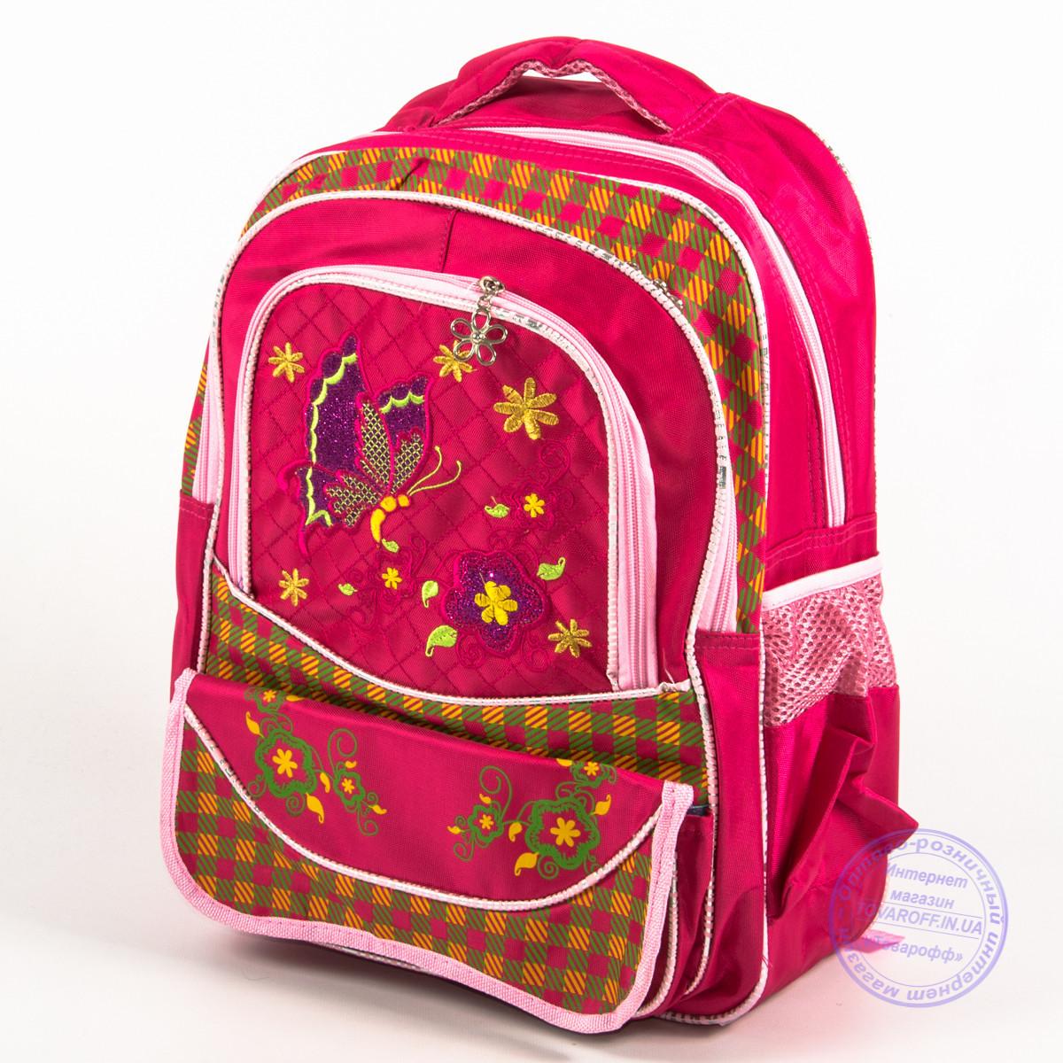 Оптом школьный рюкзак для девочек с бабочкой - красный - 147
