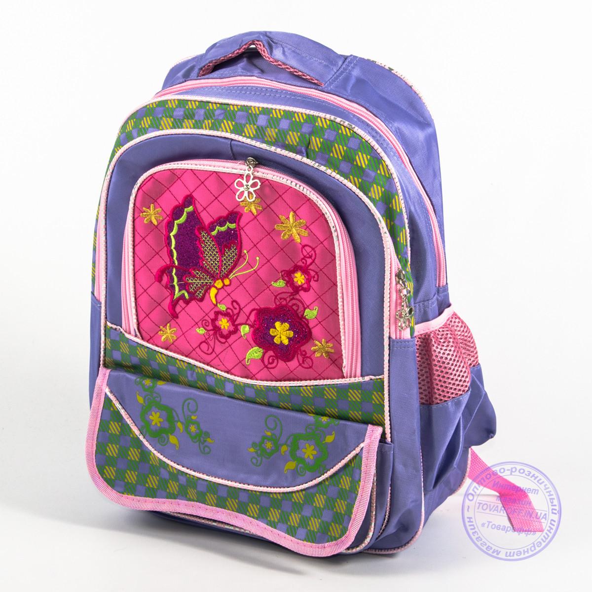 Оптом школьный рюкзак для девочек с бабочкой - сиреневый - 147