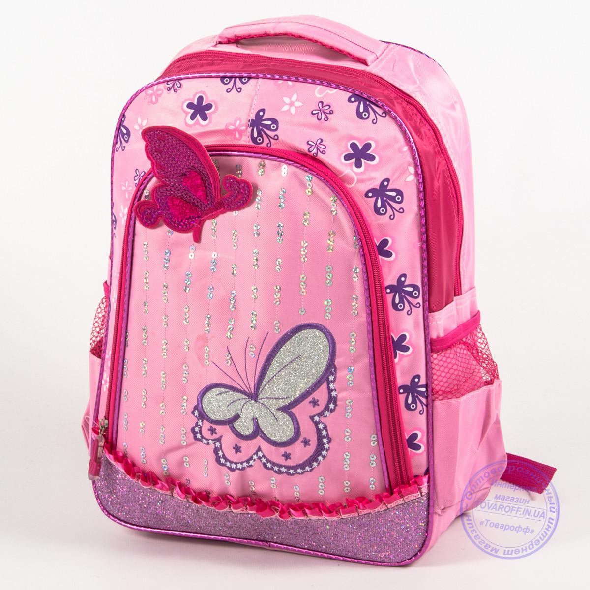 Оптом школьный рюкзак для девочек с бабочкой - розовый - 151