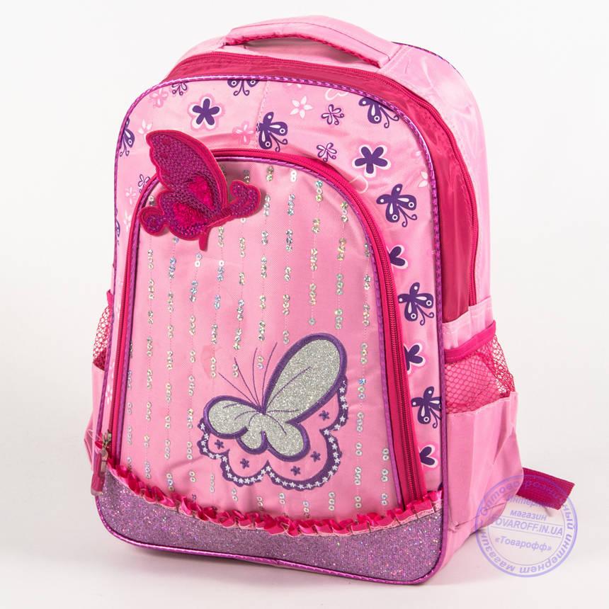 Оптом школьный рюкзак для девочек с бабочкой - розовый - 151, фото 2