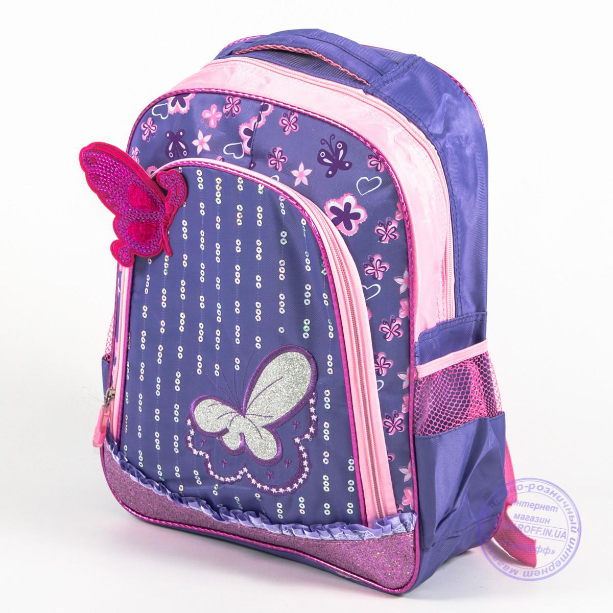 Оптом школьный рюкзак для девочек с бабочкой - сиреневый - 151