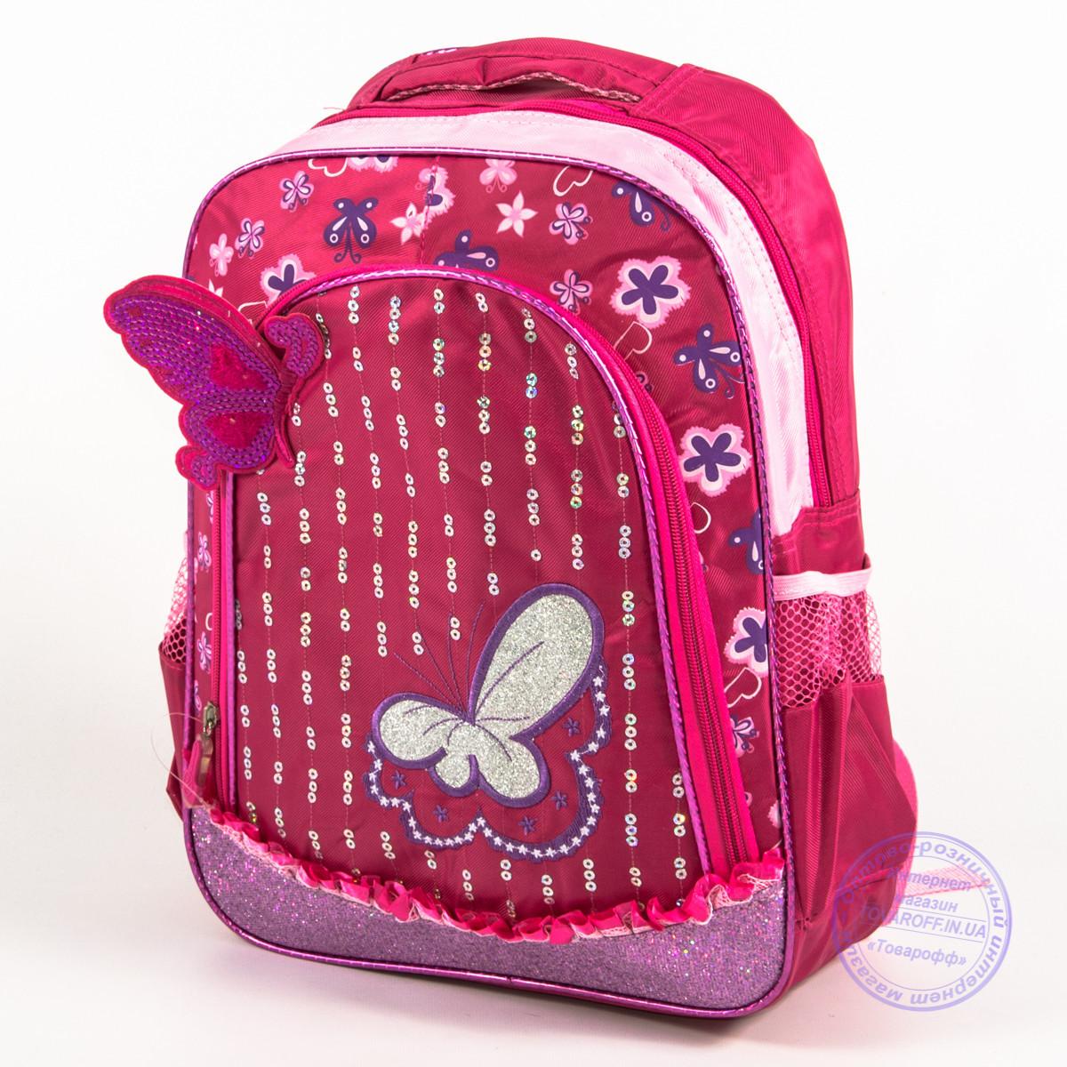 Оптом школьный рюкзак для девочек с бабочкой - красный - 151